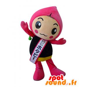 Hotapi mascotte, rosa e fiore nero, carino e colorato - MASFR27958 - Yuru-Chara mascotte giapponese
