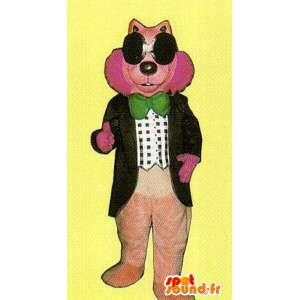 Roze mascotte wolf kostuum