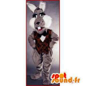 Harmaa ja valkoinen pupu puku, jättiläinen - MASFR007142 - maskotti kanit