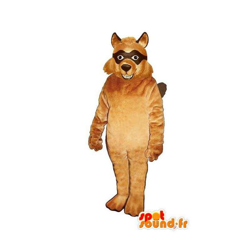 Mascotte de loup masqué de couleur marron - MASFR007143 - Mascottes Loup