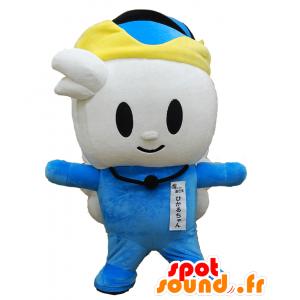 Mascotte Hikaru-chan. Mascotte alato pupazzo di neve bianca e blu - MASFR28181 - Yuru-Chara mascotte giapponese