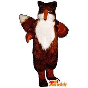 Fox Maskottchen orange und weiß sehr haarig - MASFR007163 - Maskottchen-Fox
