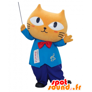 Mascotte Tamanyan. Beige gatto mascotte, direttore d'orchestra - MASFR28206 - Yuru-Chara mascotte giapponese