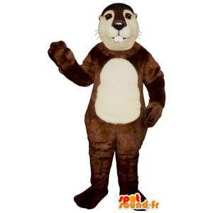 Brown Anzug und weißem Biber - MASFR007168 - Biber Maskottchen