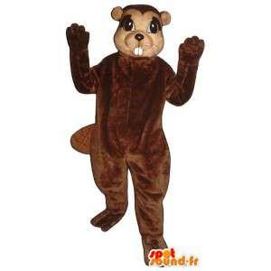 Castor mascote marrom com grandes dentes - MASFR007178 - Beaver Mascot