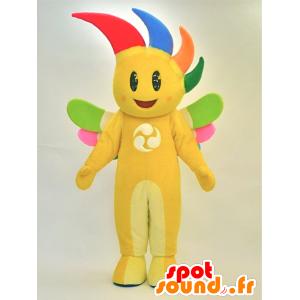 Giallo pupazzo mascotte sorridente con i capelli colorati - MASFR28289 - Yuru-Chara mascotte giapponese