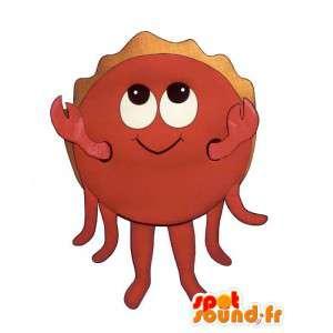 Mascotte de crabe rouge, souriant