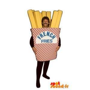 Mascotte de cornet de frites géant. Costume de frites