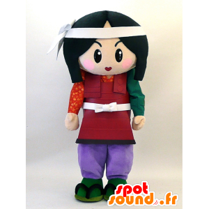 Bruna ragazza mascotte vestita come samurai - MASFR28332 - Yuru-Chara mascotte giapponese