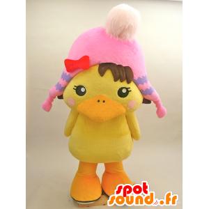 Mascot grande pulcino giallo con un cappello rosa - MASFR28433 - Yuru-Chara mascotte giapponese