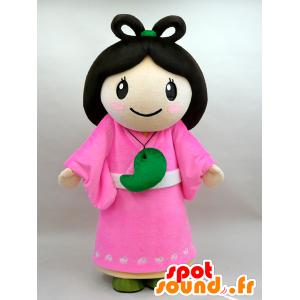 Mascotte de Nuna. Mascotte de femme brune en robe rose - MASFR28434 - Mascottes Yuru-Chara Japonaises
