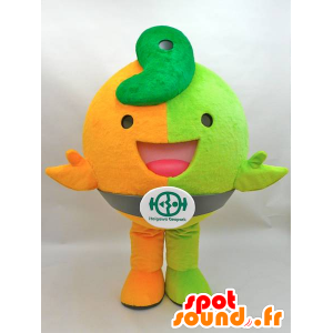 Jiomaru mascot. Orange and green dinosaur mascot - MASFR28435 - Yuru-Chara Japanese mascots