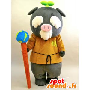 マスコットEcoton。老人のマスコット、グレー豚 - MASFR28436 - ゆるキャラマスコット日本人