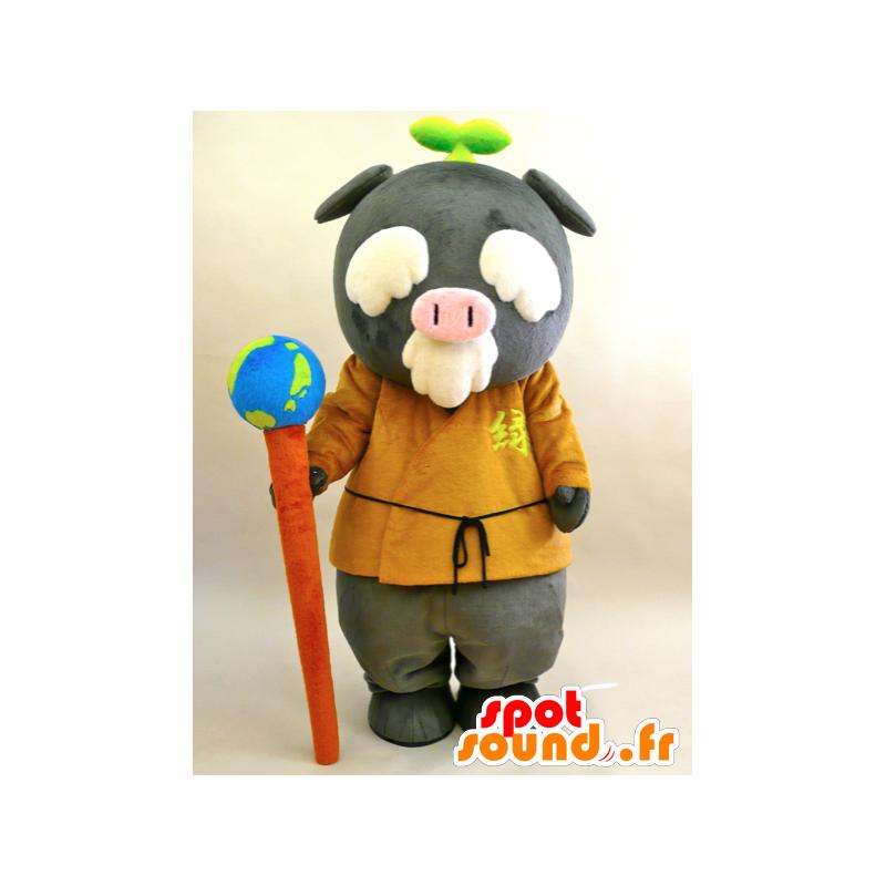 Mascotte de Ecoton. Mascotte de vieil homme, de cochon gris dans ... 3a9dbb668c16