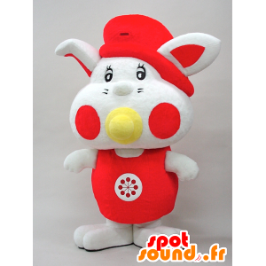 Yottan mascot. Baby mascot red and white rabbit - MASFR28442 - Yuru-Chara Japanese mascots