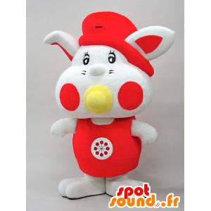Mascotte Yottan. Bambino mascotte del coniglio bianco e rosso - MASFR28442 - Yuru-Chara mascotte giapponese