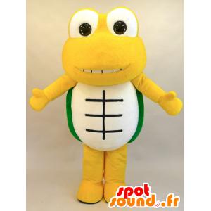 κίτρινο μασκότ χελώνα, πράσινο και λευκό, με μεγάλη επιτυχία - MASFR28444 - Yuru-Χαρά ιαπωνική Μασκότ