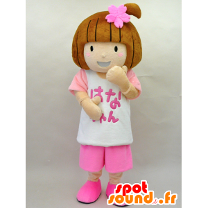 Hana-chan mascotte. Mascotte ragazza vestita di rosa - MASFR28445 - Yuru-Chara mascotte giapponese