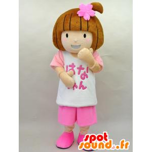 Mascotte de Hana-chan. Mascotte de fillette habillée en rose - MASFR28445 - Mascottes Yuru-Chara Japonaises