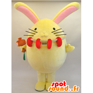 Enmaru mascot. Large rabbit mascot yellow and pink - MASFR28446 - Yuru-Chara Japanese mascots