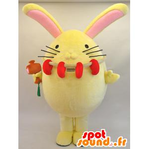Mascotte de Enmaru. Mascotte de gros lapin jaune et rose - MASFR28446 - Mascottes Yuru-Chara Japonaises