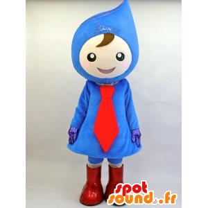 青と赤の雪だるまのマスコットティアドロップ - MASFR28447 - ゆるキャラマスコット日本人