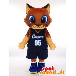 Mascot Ku-u. brun katt maskot holder basketball - MASFR28449 - Yuru-Chara japanske Mascots