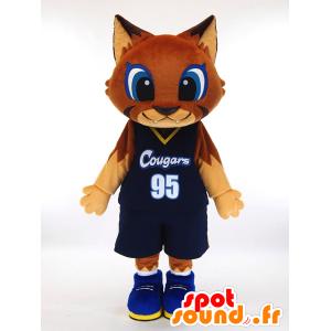 Mascotte de Ku-u. Mascotte de chat marron en tenue de basket-ball - MASFR28449 - Mascottes Yuru-Chara Japonaises