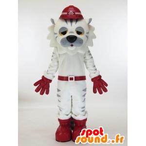 Maskot bílá a šedá tygr unavený - MASFR28451 - Yuru-Chara japonské Maskoti
