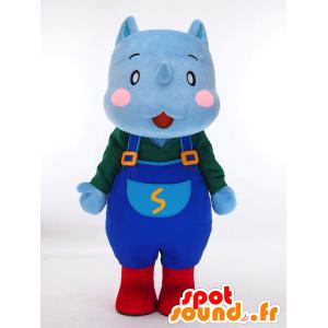 Mascotte de Sai-kun. Mascotte d'hippopotame bleu en salopette - MASFR28452 - Mascottes Yuru-Chara Japonaises