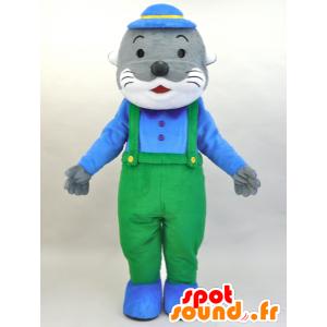 Mascotte de Kawauso Akuakun. Mascotte d'otarie grise et blanche - MASFR28454 - Mascottes Yuru-Chara Japonaises
