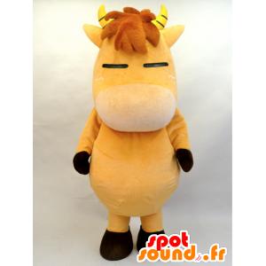 Hnědý kůň maskot, hříbě s rohy - MASFR28456 - Yuru-Chara japonské Maskoti