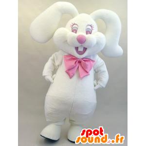 Rippyi Maskottchen. Maskottchen-weiß und rosa bunny flauschig - MASFR28457 - Yuru-Chara japanischen Maskottchen