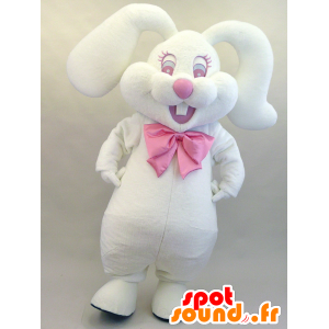 Mascot Rippyi. Mascot wit en roze bunny zacht - MASFR28457 - Yuru-Chara Japanse Mascottes