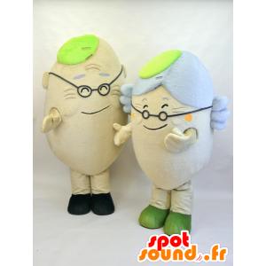Mascottes ouderen, een man en een vrouw - MASFR28458 - Yuru-Chara Japanse Mascottes