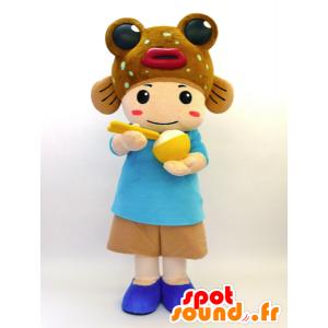 Mascot Tabenba-Kun. Mascotte Kind mit einem Fisch - MASFR28459 - Yuru-Chara japanischen Maskottchen
