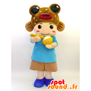 Maskot Tabenba-kun. Maskot dítě s rybou - MASFR28459 - Yuru-Chara japonské Maskoti