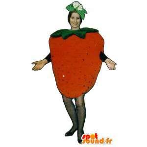 Mascotte de fraise géante. Costume de fraise