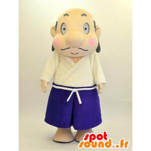 Ιάπωνες λευκό άνδρα μασκότ και μπλε στολή - MASFR28466 - Yuru-Χαρά ιαπωνική Μασκότ