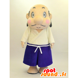 Japanse man mascotte witte en blauwe outfit - MASFR28466 - Yuru-Chara Japanse Mascottes