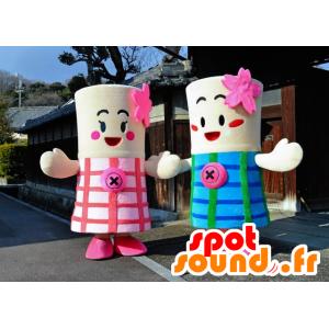 Mascottes des sœurs Nisshi, roses et bleues, cylindriques - MASFR25952 - Mascottes Yuru-Chara Japonaises