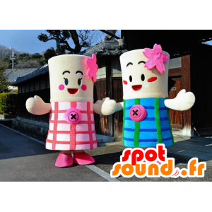 Mascottes des sœurs Nisshi, roses et bleues, cylindriques - MASFR25952 - Yuru-Chara mascotte giapponese