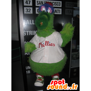 Green monster mascot, fluffy, funny and hairy