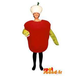 Mascot roten Apfel mit einer Schlange.Verbotene Frucht - MASFR007230 - Obst-Maskottchen