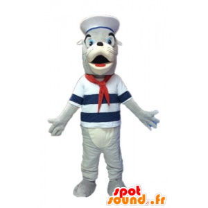 Maskotka szary i biały lew morski, ubrany w marynarski