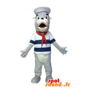 Maskotti harmaa ja valkoinen merileijona, pukeutunut merimies