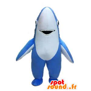 Mascot in blue and white shark, giant - MASFR028528 - Mascots shark
