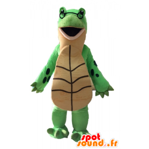 Green turtle mascot and giant beige - MASFR028529 - Mascots turtle