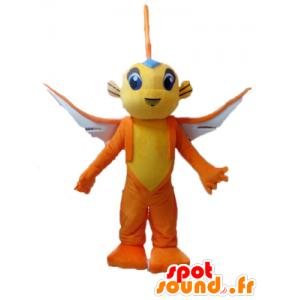 Yellow flying fish mascot and orange - MASFR028530 - Mascots fish