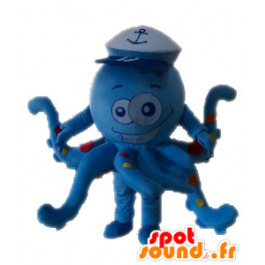 Mascot octopus, blue octopus with peas - MASFR028535 - Mascots fish
